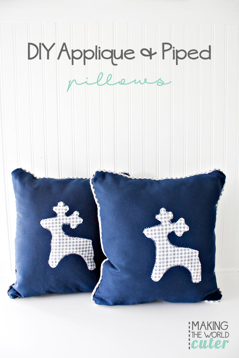 DIY Applique and Piping for throw pillows. Easy sewing tutorial for room decor. These are in seriously one of the cutest bunk rooms I have ever seen.
