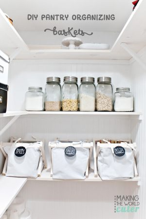DIY Pantry Organization Baskets, super inexpensive, totally customizable and really cute!