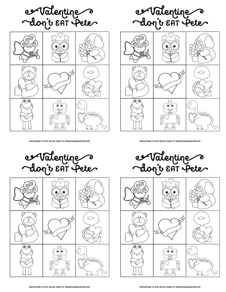 Free Valentine Printables Don't Eat Pete game, cards for classroom parties, or to hand out to friends with a small bag of candy. Coloring sheets and full color versions, super cute Valentine's Day game...and there is one for like every holiday on this site. Love!