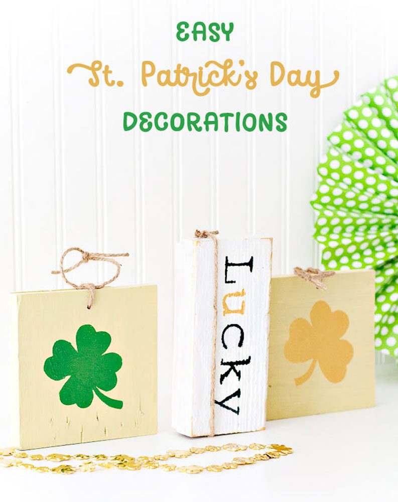 Easy St. Patrick's Day DIY decor. Perfect for mantel, gift or wreath door hanger! Making the World Cuter.