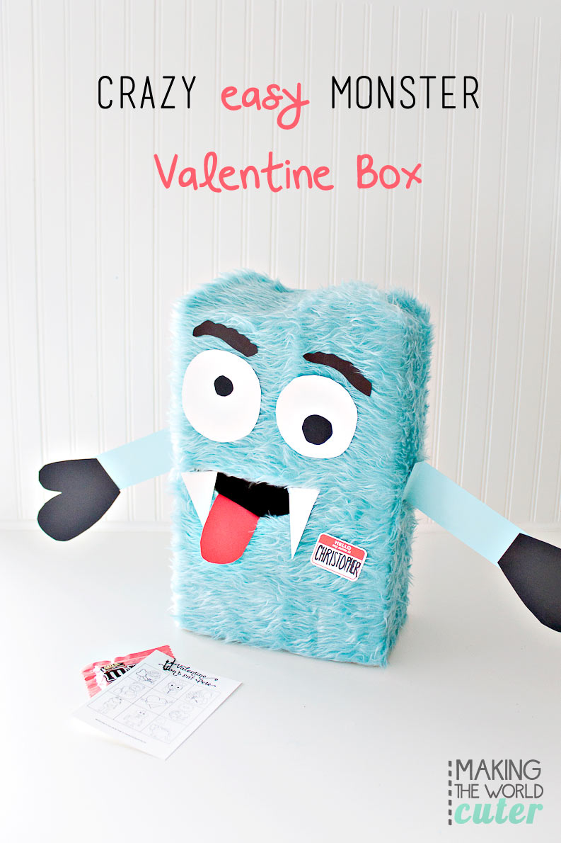 Cute and simple Teacher Valentine Card printable and a cute monster valentine box for boys (or girls) for classroom parties.