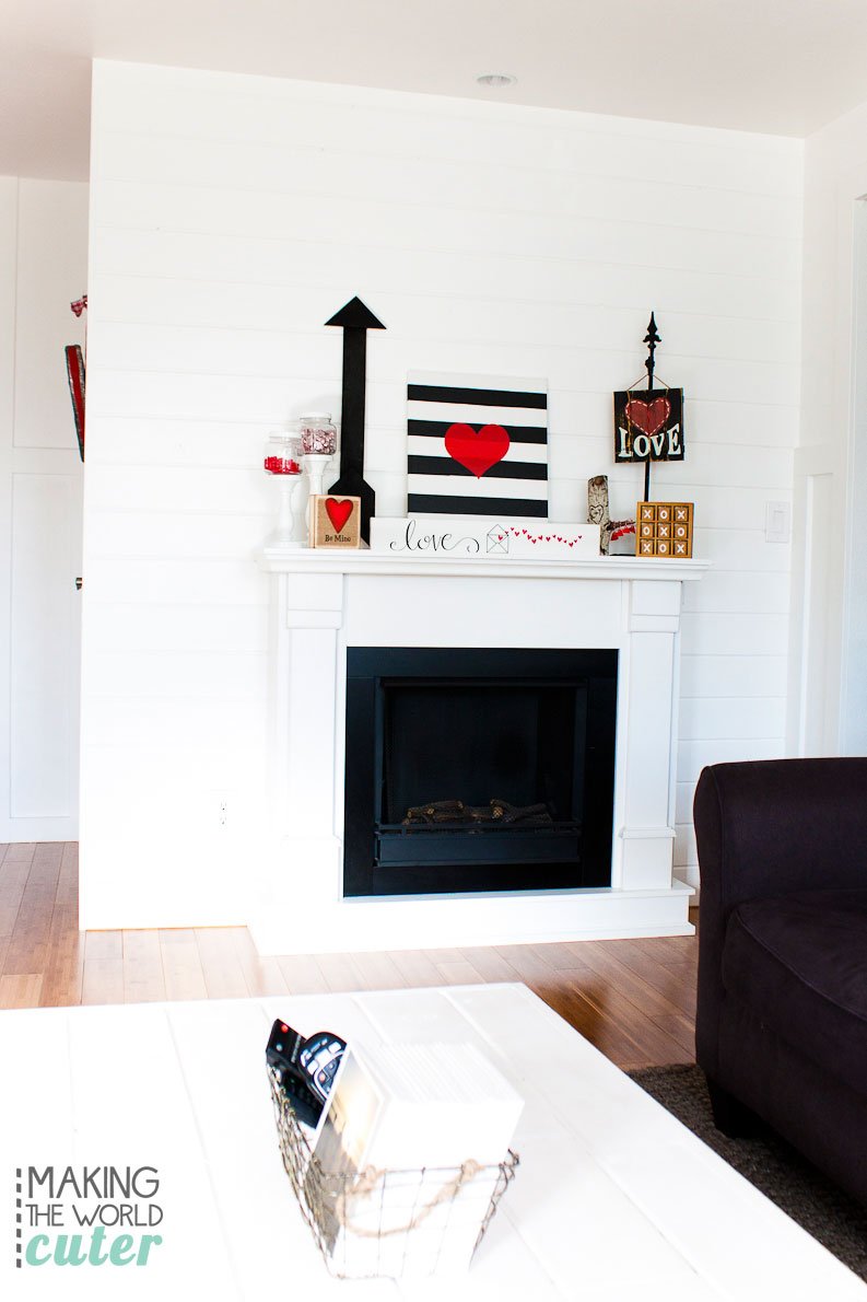 Valentine Mantel Decor Ideas and other black, white and red decor ideas. Super cute!