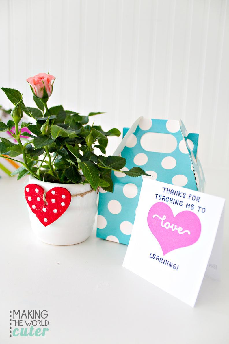 Cute and simple Teacher Valentine Card printable.