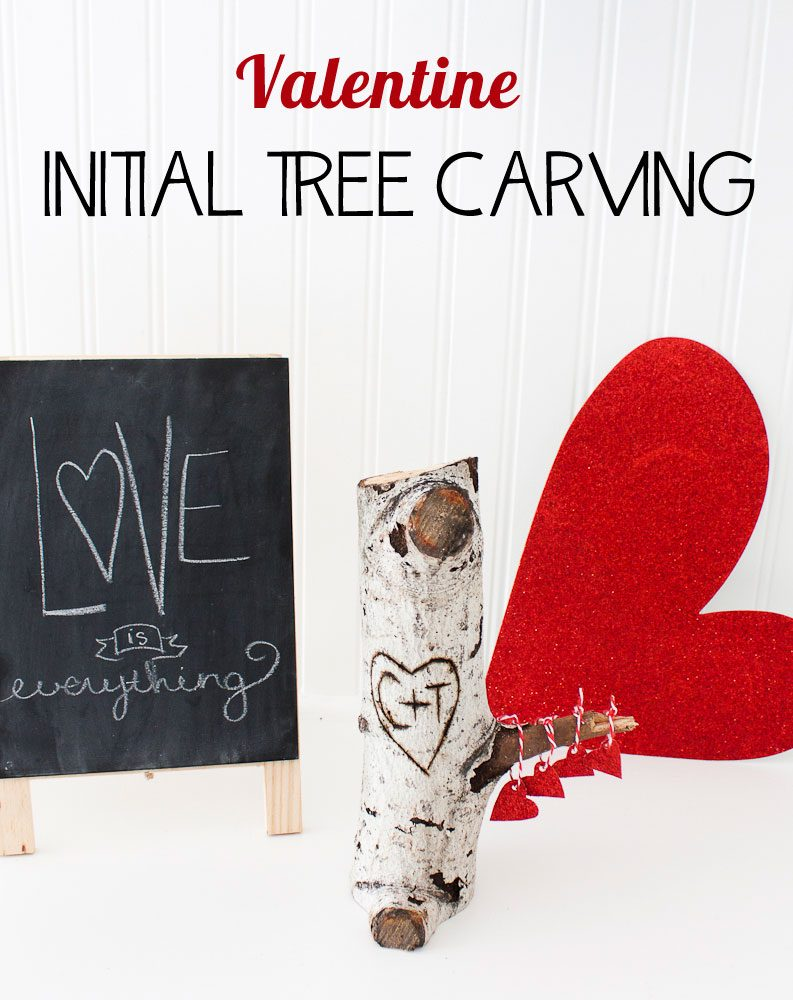 Cute Valentine Initial Tree Carving using a wood burning tool. Would make a great gift for a guy or a girl. Love!