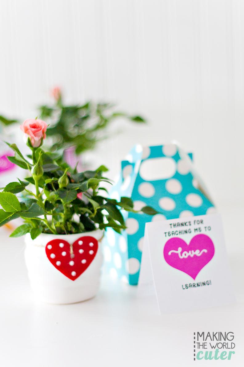 Cute and simple Teacher Valentine Card printable
