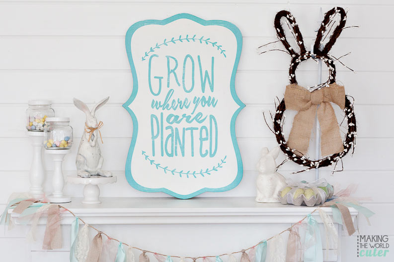Making the World Cuter's Easter Mantel. Love the white shiplap wall and all the white!