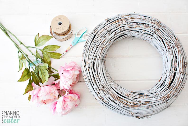 Peony Spring Wreath DIY