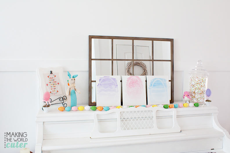 Making the World Cuter's Easter Mantel and Piano Decor. LOVE that white painted piano!