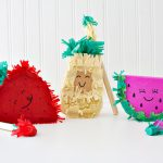 DIY fruity personal piñatas! So cute! Pineapple, Strawberry and Watermelon. Cute free printables for teacher appreciation too!