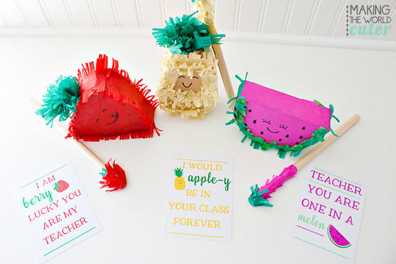 Make a DIY personal pinata! So cute for teacher appreciation with the free printable tags that can go with them...or would be great birthday gifts or cinco de mayo place cards or favors! LOVE the little fruit! Pineapple, Watermelon and Strawberry, all so cute!