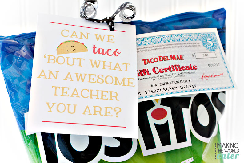 Let's Taco bout teacher appreciation shall we? Grab this cute free printable and put it with any gift card (especially to Mexican restaurants), chips and salsa, taco mix...whatever!