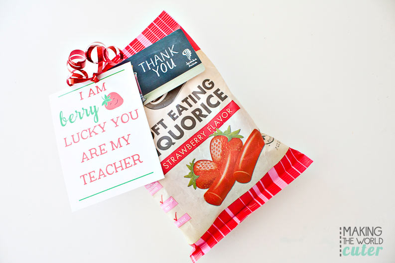 I am berry lucky you are my teacher! Teacher Appreciation free printables and gift ideas from Making the World Cuter
