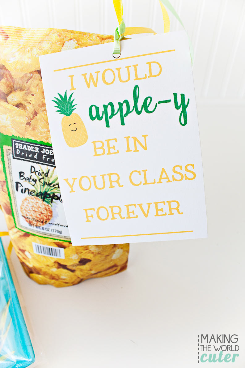 I would Apple-y be in your class forever! Teacher Appreciation printables for a pineapple teacher gift. Cute!