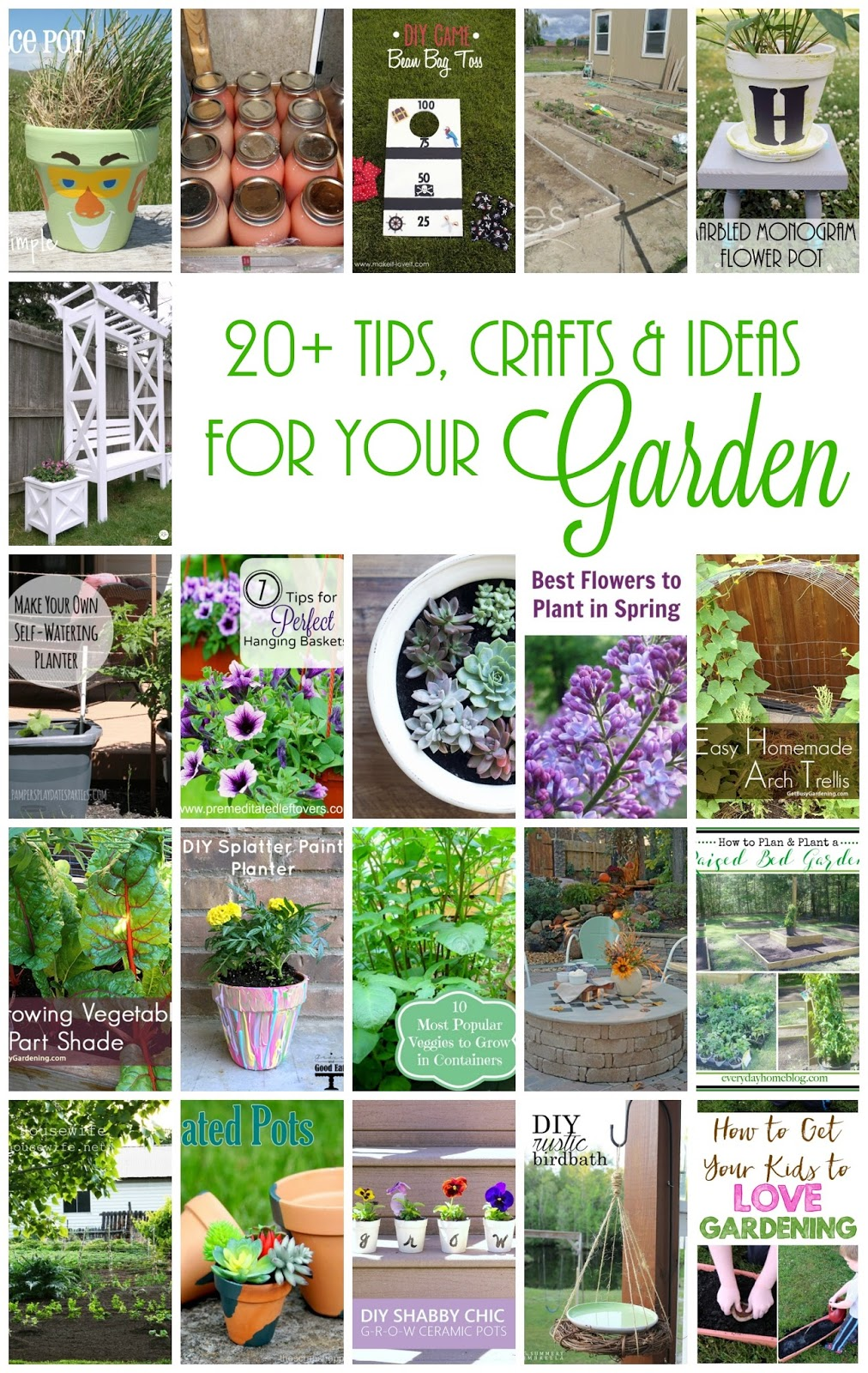 20 + Outdoor ideas, crafts and tips for your garden and yard.