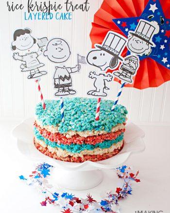 Patriotic Rice Krispie Treat Cake
