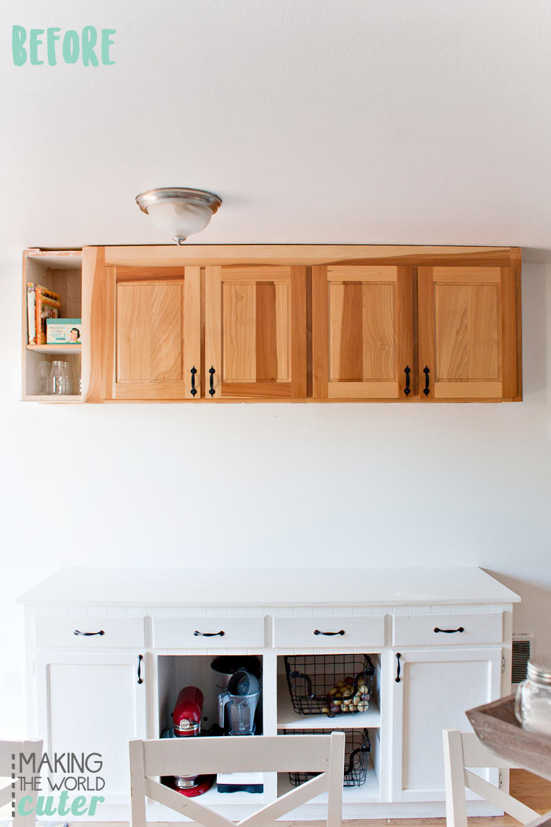 DIY Kitchen Open Shelving Baking Station Before Picture