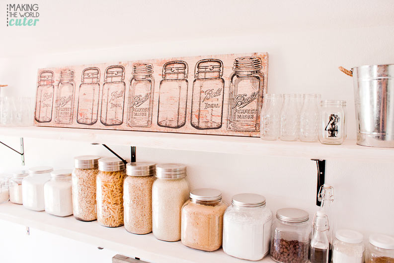 DIY Kitchen Open Shelving Baking Station