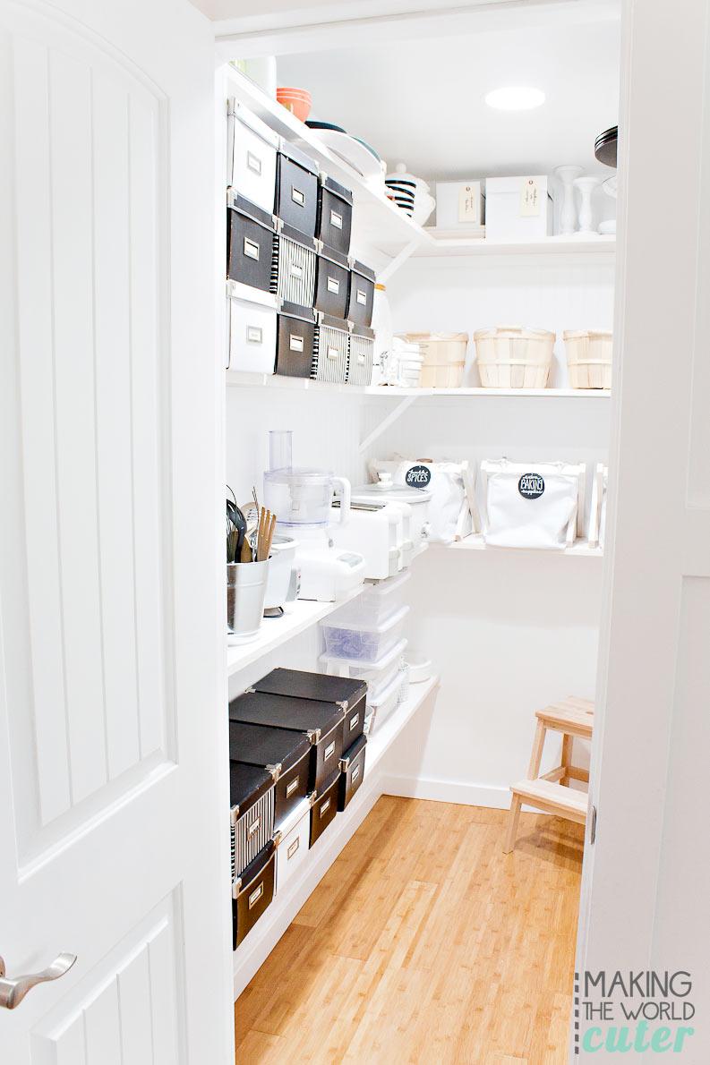 Pantry Reveal. Organization, remodel, white pantry, built in butler pantry.