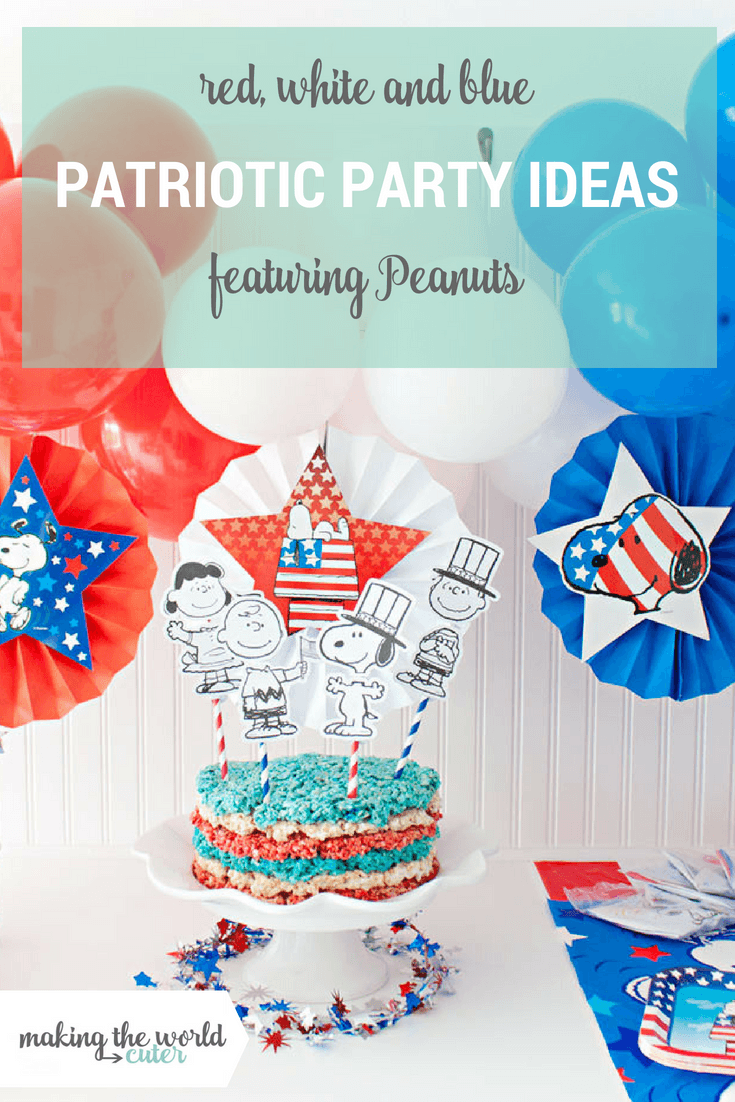 Red, White and Blue Patriotic Party featuring Peanuts! Red, White and Blue Rice Krispie Cake, Balloon Banner and Party Favors!