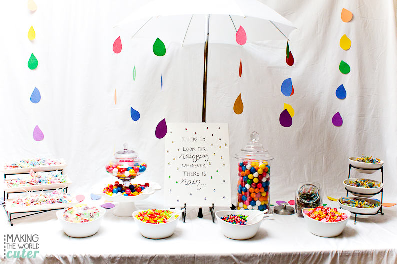 I like to look for rainbows whenever there is rain! LDS Baptism treat ideas, rainbow candy buffet and free printable to the cute primary song! So fun!