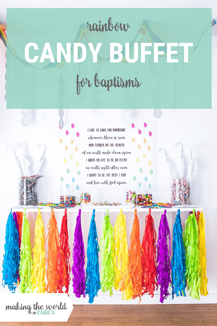 Rainbow Candy Buffet for Baptism Dessert Table