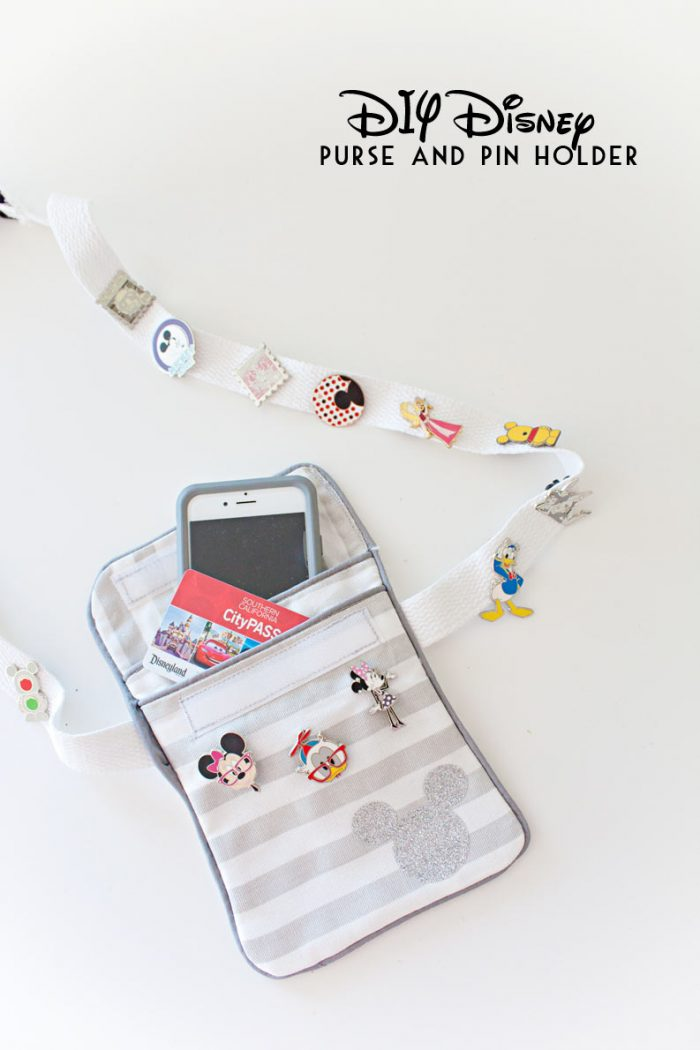 Disney Purse and Pin Holder DIY. Fun and easy sew perfect for beginners. Wear the purse 3 ways, including a fun fanny pack, perfect for Disneyland or Disneyworld! Keep your cell phone, credit cards, fast passes and pins all in one place!