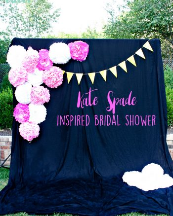 Kate Spade inspired bridal shower with beautiful photo booth backdrop, cookies and decorations.