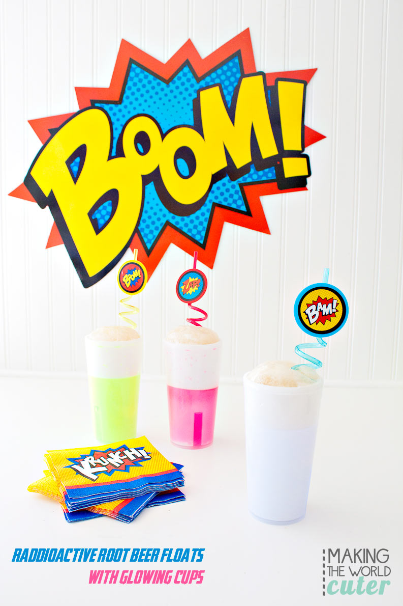 Radioactive Root Beer Floats (or anything you want to put in these super cute glow stick cups!) Perfect for a superhero party or play date!