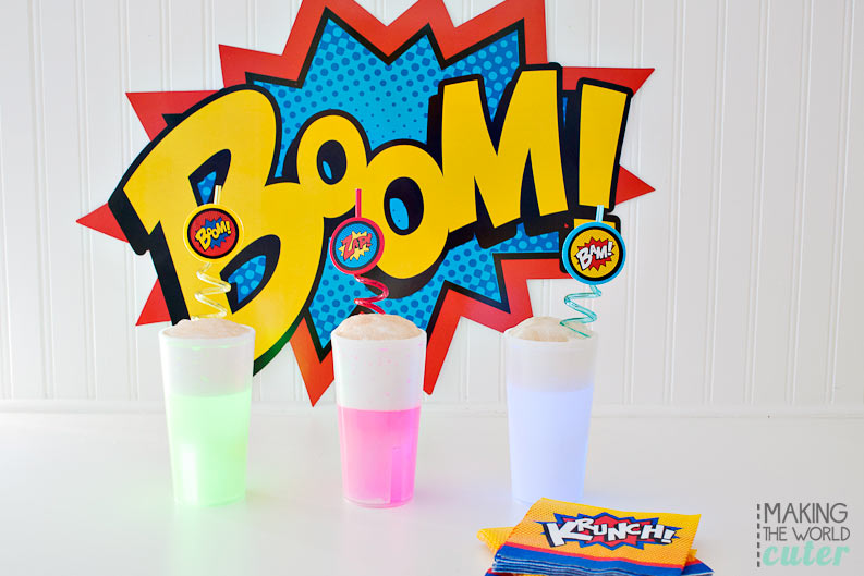 Superhero party drinks ideas-Radioactive Root Beer Floats (or anything you want to put in these super cute glow stick cups!) Perfect for a superhero party or play date!