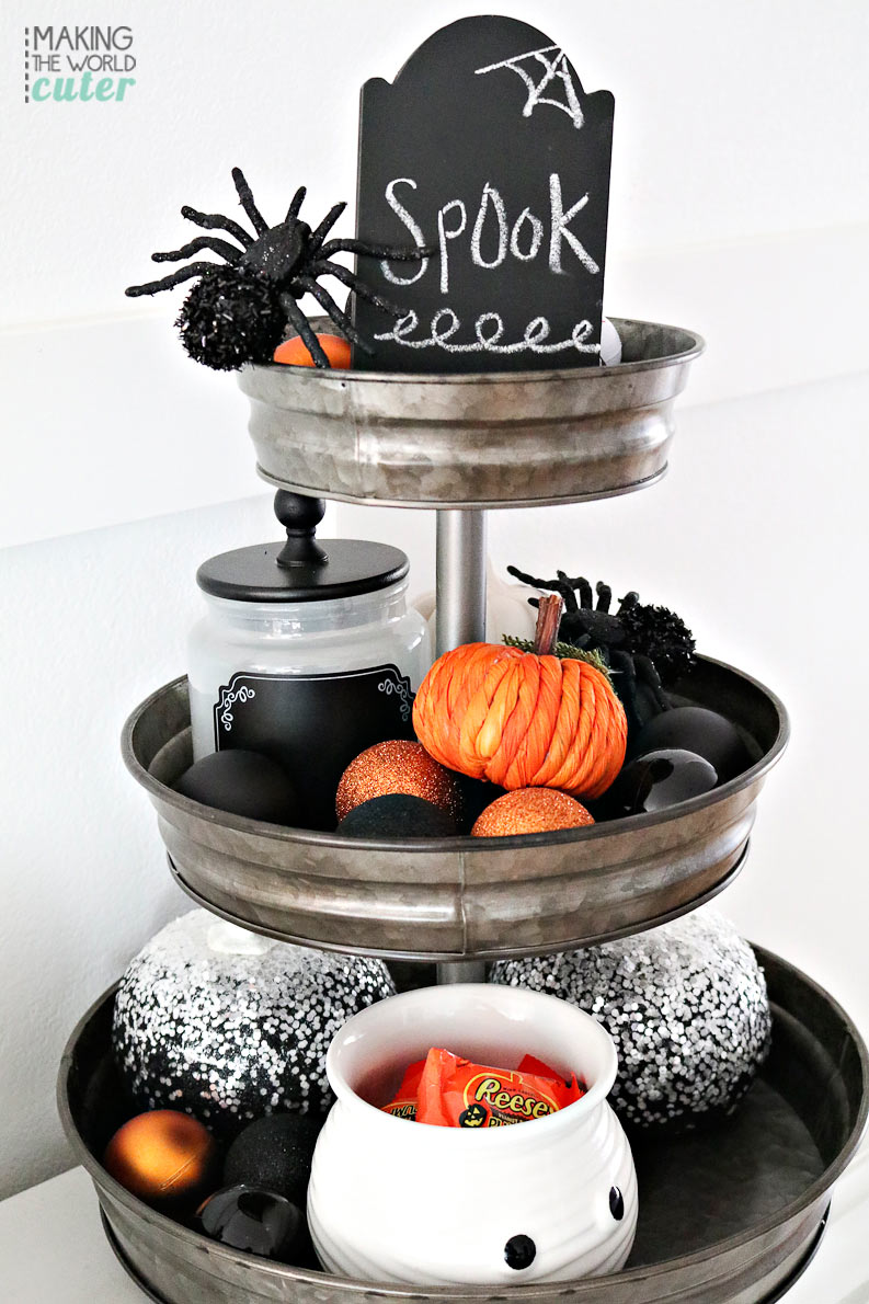 Delightful black and white halloween mantel for 3 tier pumpkin decoration