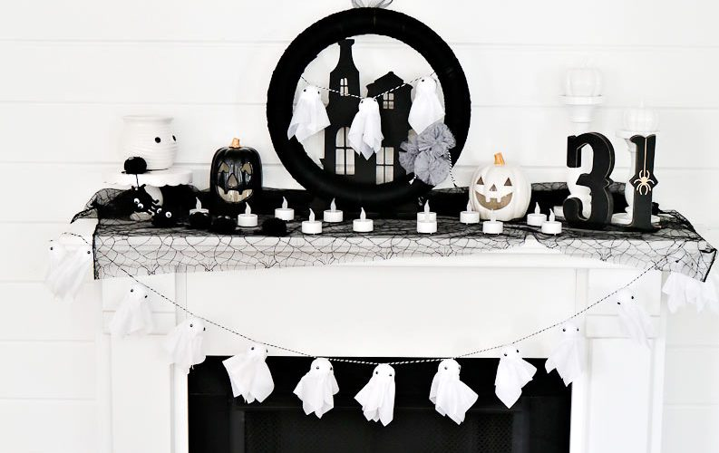 Delightful Black and White Halloween Mantel