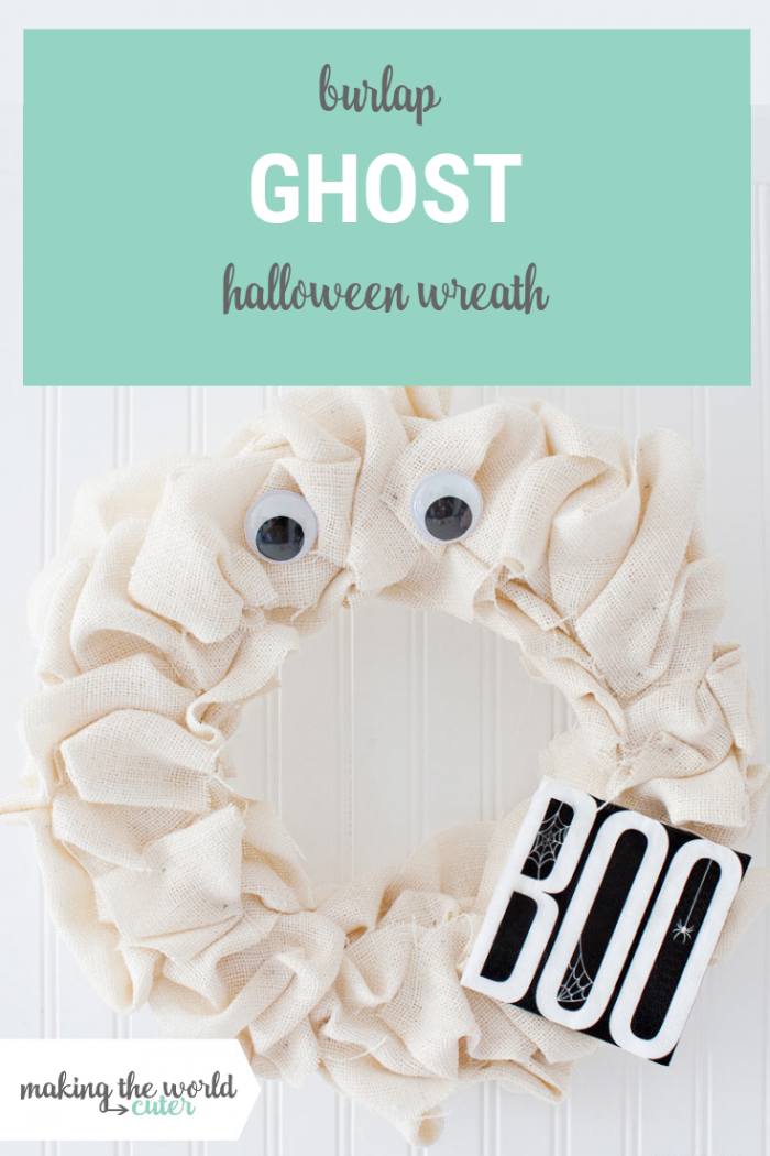 Burlap Ghost Halloween Wreath, perfect for black and white Halloween decorations! Easy and cute, not scary decor.