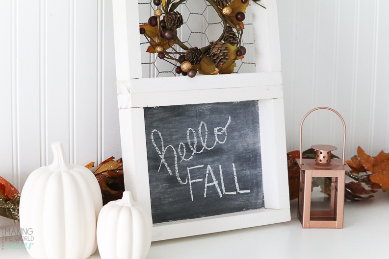 Inexpensive Gift Idea, Easy DIY 3 tiered Frame, chicken wire frame, cork board frame and a chalkboard frame. Perfect for fall decor, farmhouse style and would make a great Christmas gift for your friends!