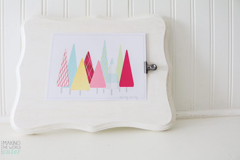 Merry Merry Christmas Tree Printable in fun colors and a fun tutorial to frame it for a BIG statement piece.