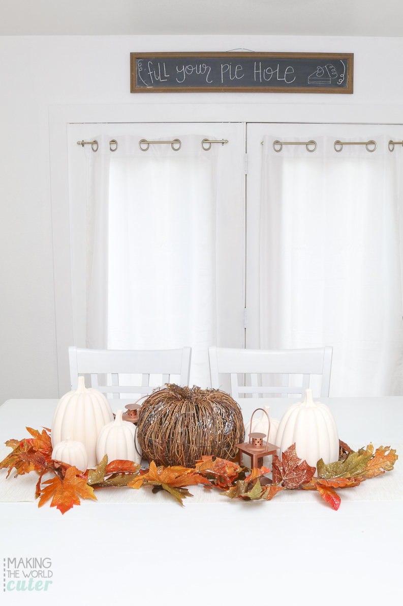Beautiful Fall Centerpiece and Fill Your Pie Hole Chalkboard art for Pie Tasting Party