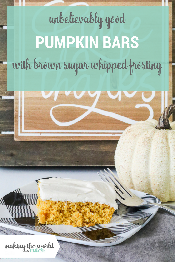 Delicious and Easy Pumpkin Bar Recipe with brown sugar whipped topping.
