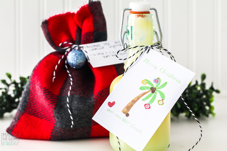 Coconut Syrup Neighbor Gift Idea with free printable gift tag