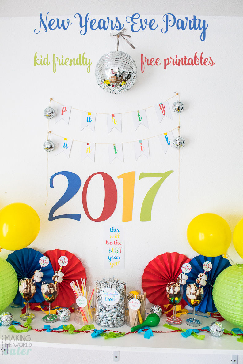 Kid Friendly New Years Eve Party with free printables and an over the top dessert you can make in minutes that will bring the WOW!! factor up 100 notches!