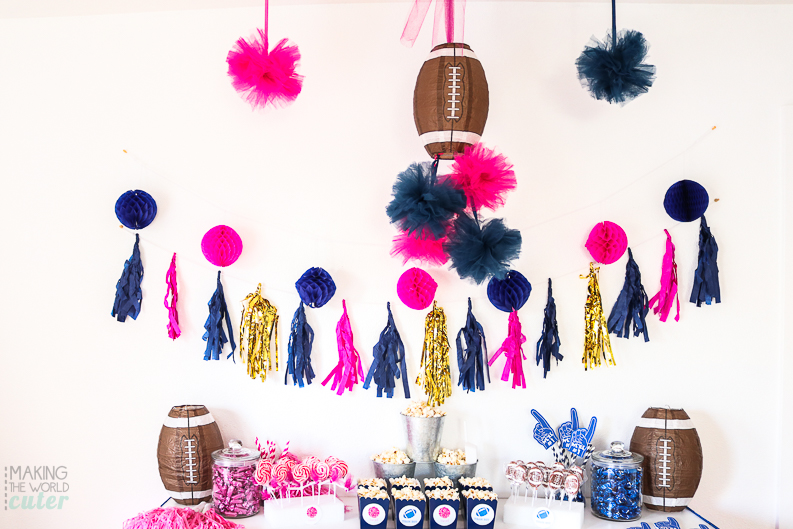 Cheerleader or Quarterback? Tutus or Touchdowns? Boy or Girl? This darling Football Baby Gender Reveal Party is perfect for the biggest sports fan...and their spouse!