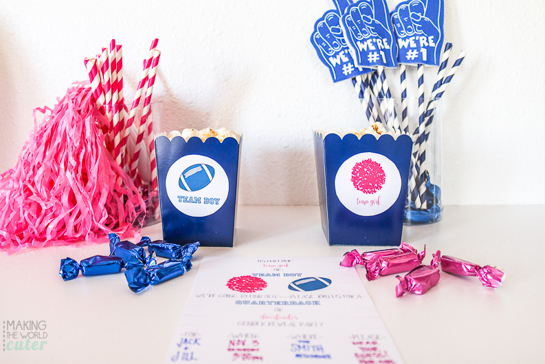 Cheerleader or Quarterback? Tutus or Touchdowns? Boy or Girl? This darling Football Baby Gender Reveal Party is perfect for the biggest sports fan...and their spouse! Free printable Gender Reveal Invitations