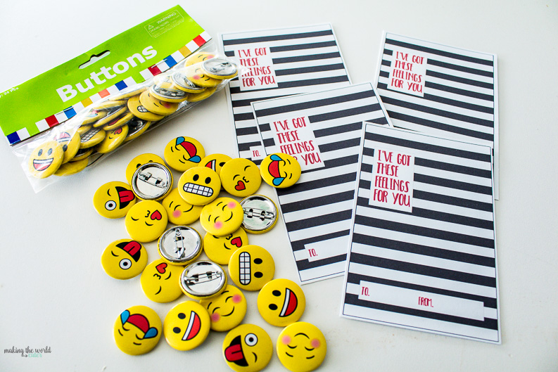 """I've got these feelings for you!"" Emoji Valentine Cards for Kids with Buttons. Love the black and white stripes!"