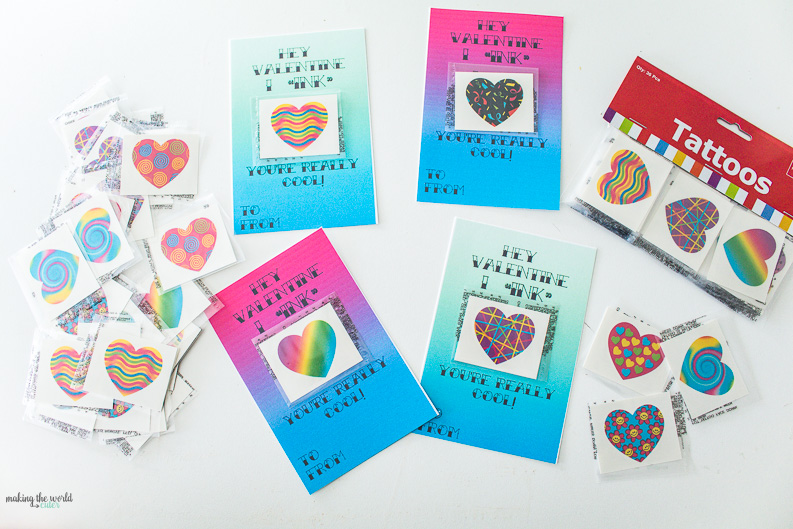 """Free printable Tattoo Valentine Cards for kids classroom exchanges! I """"ink"""" you're really cool! So cute to add a temporary tattoo with some washi tape and hand out to friends. Good boy or girl valentines and good non candy treat!"""