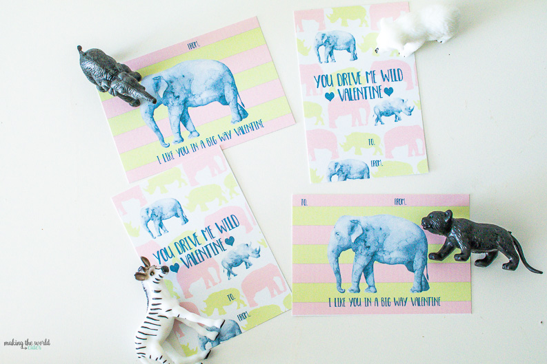 Sweetest pink and green free printable valentine cards. Pair with a plastic animal toy for the cutest little preschool or classroom exchange!