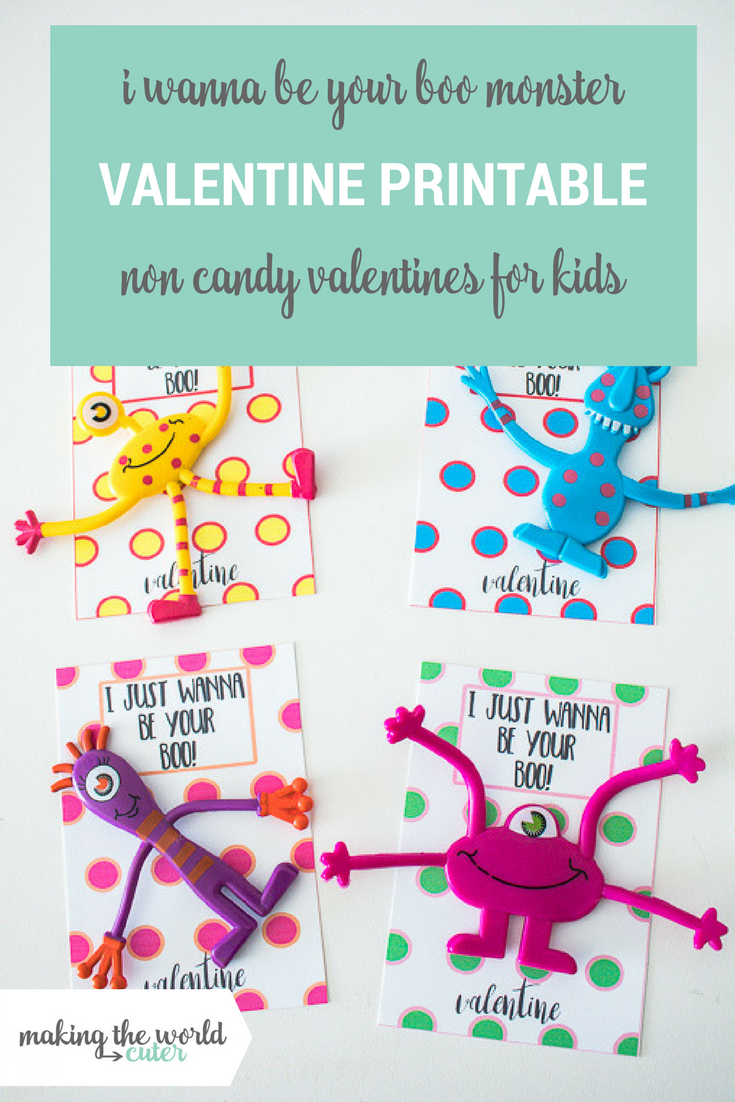 "I wanna be your ""boo"" Monster Valentine Printable Card"
