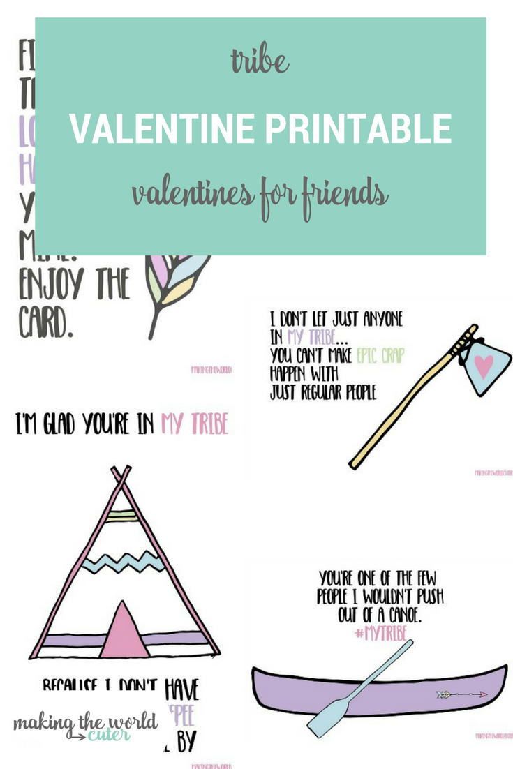 Tribe Valentines Cards for your Galentine's Day Party for your friends