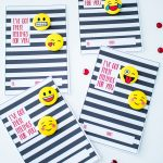 """""""I've got these feelings for you!"""" Emoji Valentine Cards for Kids with Buttons. Love the black and white stripes!"""