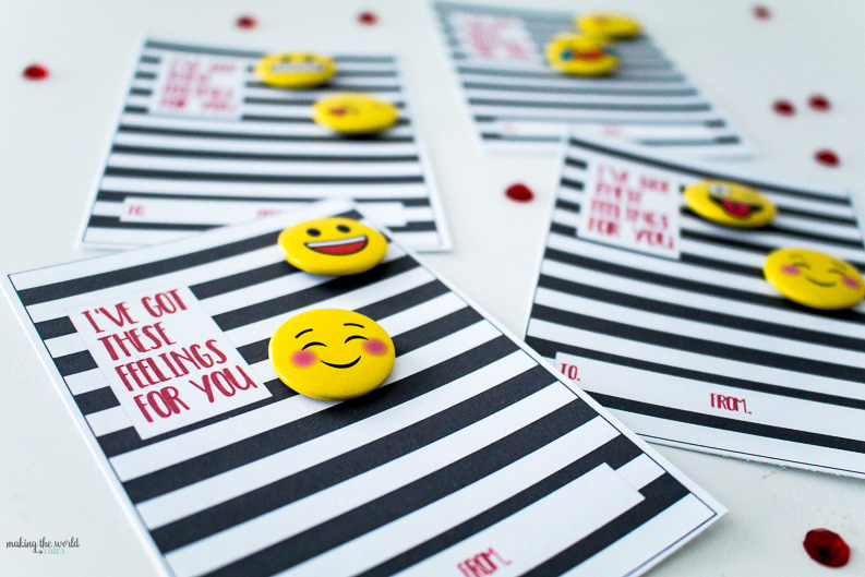 """I've got these feelings for you!"" Emoji Valentines Cards for Kids with Buttons. Love the black and white stripes!"
