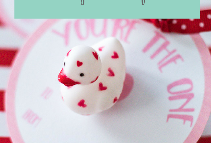 Rubber Ducky You're the One Valentine Cards for Kids