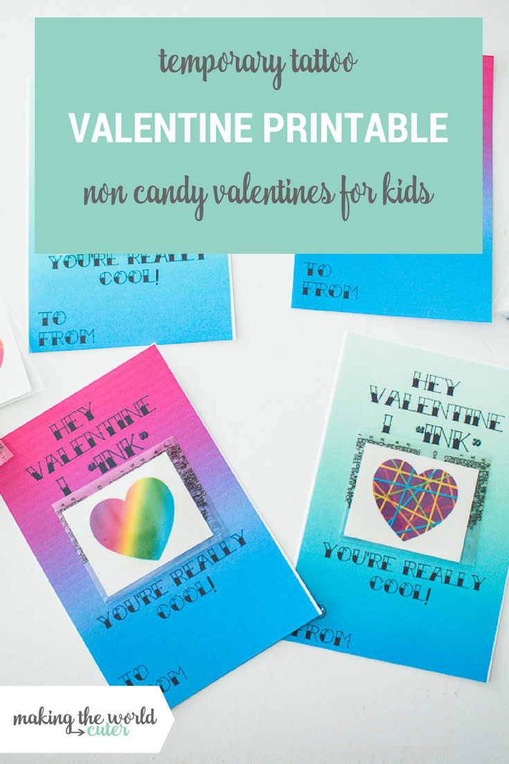 Cute free printable tattoo Valentine cards to give with temporary tattoos, good for boys or girls.