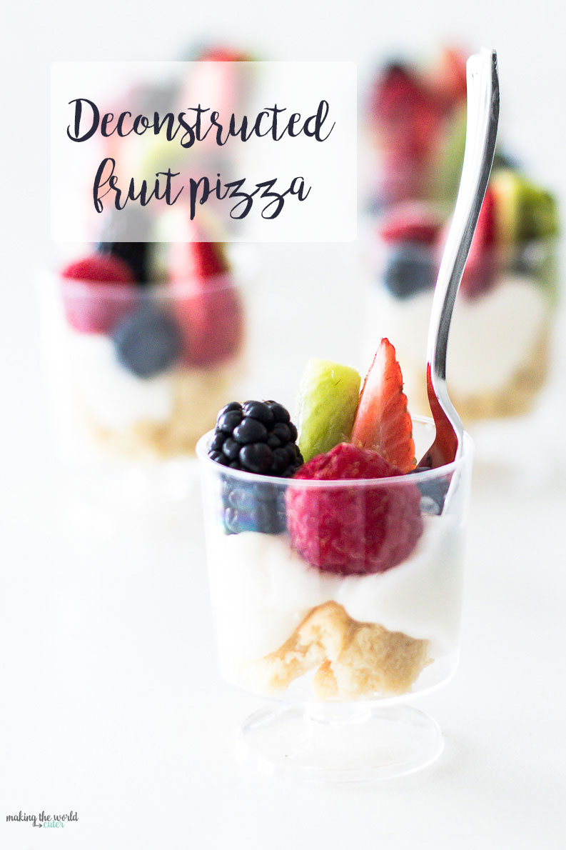 Deconstructed Fruit Pizza in miniature pedestal cups. Perfect for Easter brunch, any spring brunch, appetizers, fruit desserts, girls night out treats...just super yummy and cute!